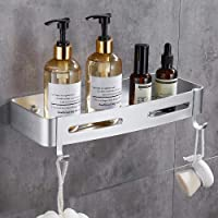GERUIKE Estante de baño cuadrado, Cesta de ducha, Organizador de pared para cocina, Aluminio espacial, Instalación sin…