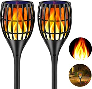 Ollivage Solar Torch Flame Lights Waterproof Dance Flame Lighting Solar Garden Light Outdoor Landscape Decoration Lighting Dusk to Dawn Auto On/Off, 2 Pack