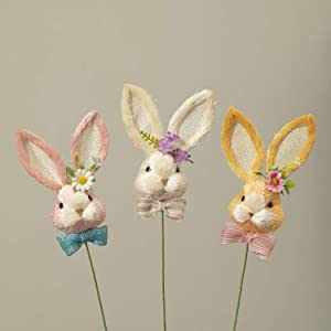 One Holiday Way Set of 3 Handcrafted Pastel Sisal Bunny Picks with Rustic Bow and Flower Accent - Easter Party Decorations for Cake, Floral Arrangement, Wreath, Crafts - Spring Home Decor