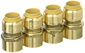SharkBite U072LFA4 Straight Connector Plumbing Female, 1/2 in, FNPT, PEX Fittings, Push-to-Connect, Copper, CPVC, Pack of 4 Brass