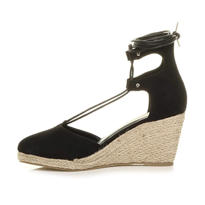 c9ae2664831 Ajvani Womens Ladies mid Wedge Heel Summer Cut Out tie up Espadrilles  Sandals Size 8 41  Amazon.co.uk  Shoes   Bags