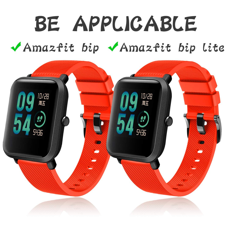 Th-some Correa para Amazfit Bip Impermeable Universal - Reemplazo de Pulsera Ajustable para Xiaomi Huami Amazfit Bip bit Lite Youth Watch, Naranja Sin ...