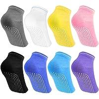 Bantoye 8 Pares de Calcetines de algodón con Puntos de Silicona, Antideslizantes Calcetines de Yoga Pilates con agarres de algodón para Mujeres