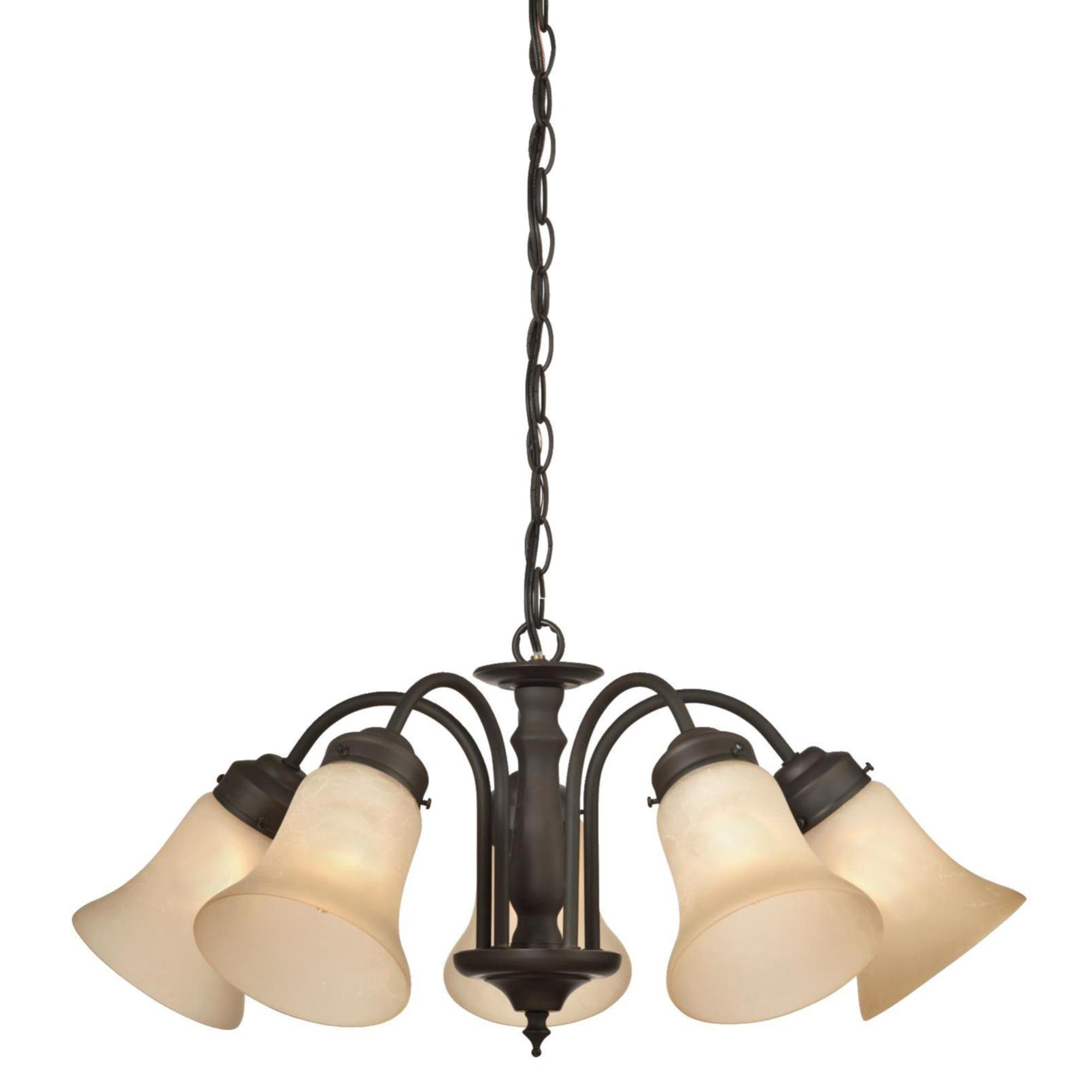 Westinghouse 6223500 Trinity II Five-Light Interior Chandelier, Oil Rubbed Bronze Finish with Aged Alabaster Glass