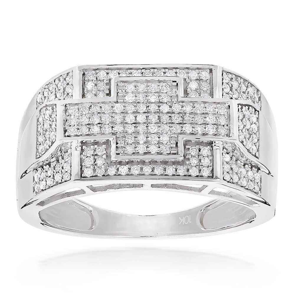 Luxurman Mens 10K Natural 0.5 Ctw Diamonds Pinky Ring Band For Him (White Gold Size 10.5)