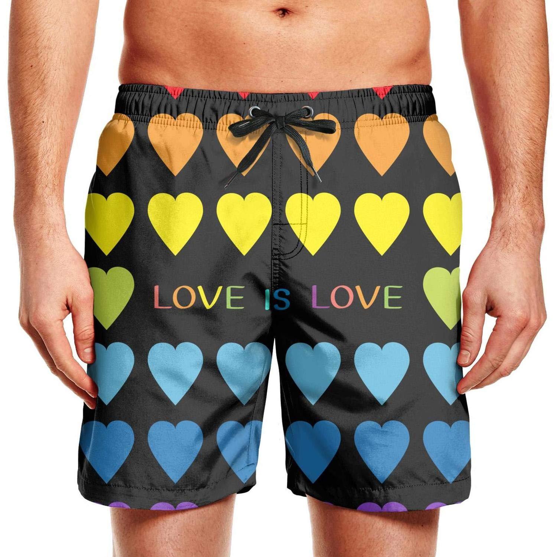 smsdpmc Gay Pride Unicorn Rainbow Flag Mens Swim Shorts Board Shorts Adjustable Athletic Shorts