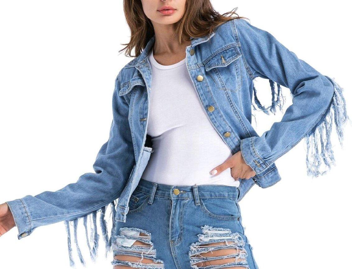 Qiangjinjiu Womens Long Sleeve Lapel Button-Front Ripped Hole Fashion Tassel Cowboy Jacket Blue XL
