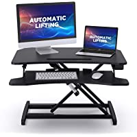 "ABOX Standing Desk with Electric Powered Lifting Converter, 34"" Height Adjustable Sit Stand Desk Riser, Dual Monitors…"