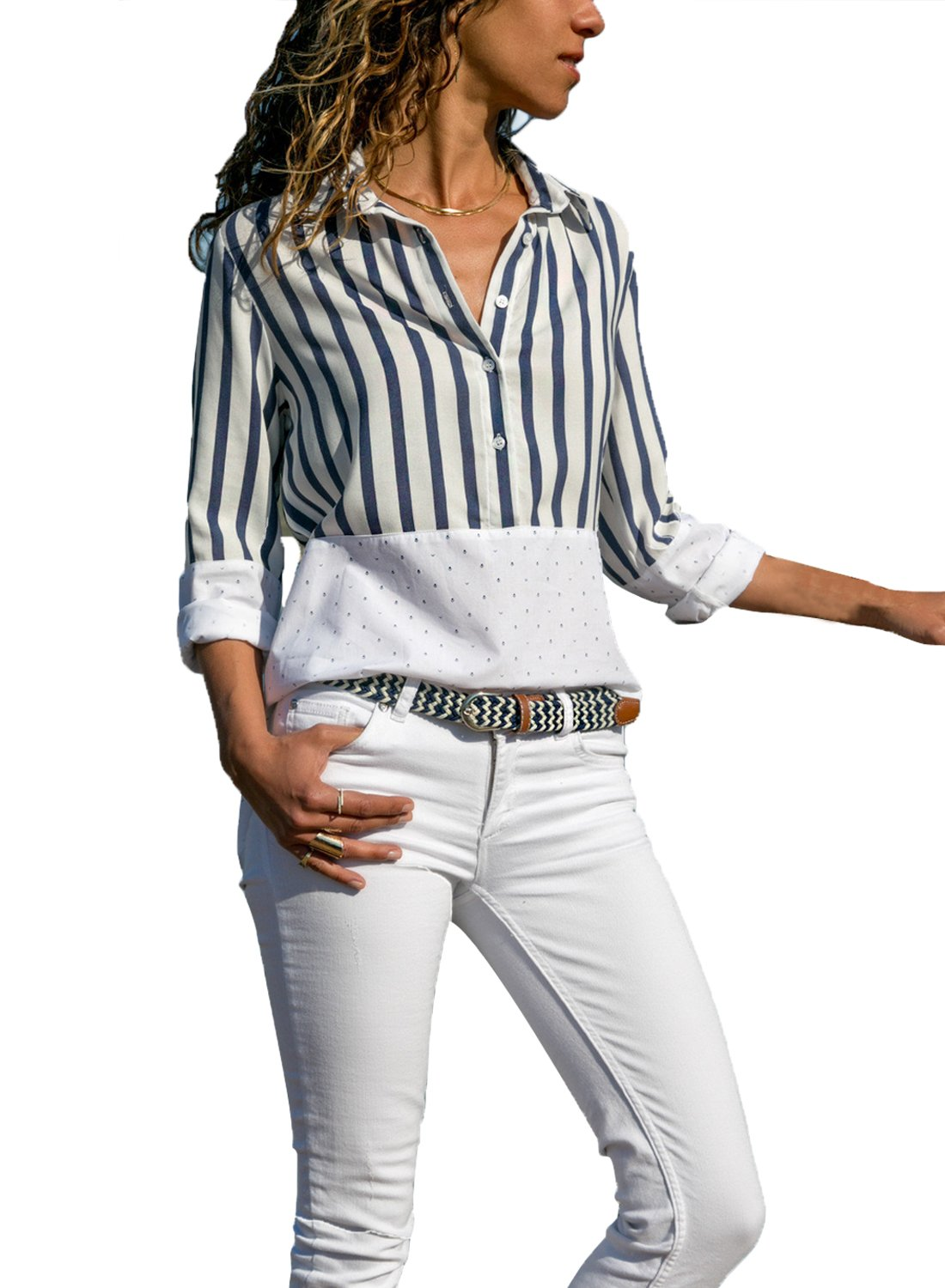 ROSKIKI Womens Long Sleeve Striped Plus Size Tops Cuffed Contrast Colorblock Blouses Cotton Button Down Loose Fit Shirts White XXL