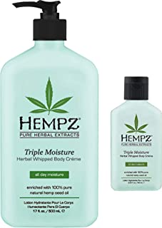 product image for Hempz Triple Moisture Herbal Whipped Body Creme 17 oz + 2.25 oz Travel Size | Shrink Wrapped in Strong Box for Storage
