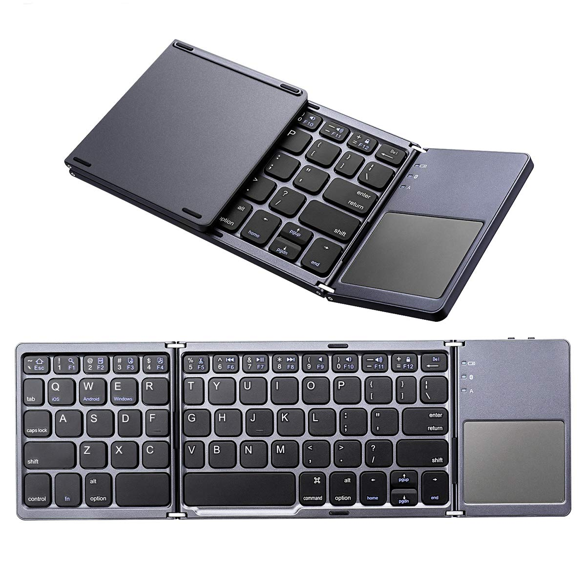 Bluetooth Foldable Keyboard, M.Way Ultra Slim Tri-fold Wireless Portable Keyboards with Touchpad for Windows/iOS/Android Smartphone iPhone Samsung Tablet iPad
