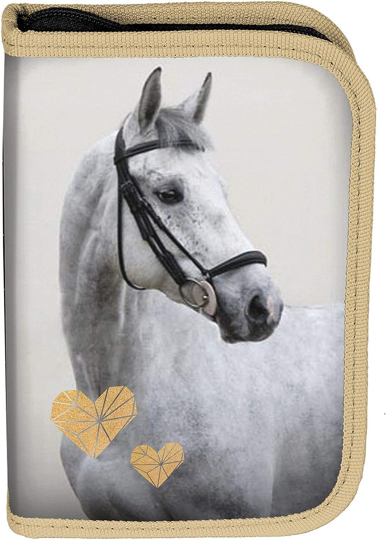 PASO - Bolso de piel para niños, 22 piezas, diseño de caballo, Caballo con corazones – Parte trasera negra y dorada.