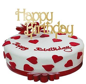 Babeyond Tortenaufsatz Geburtstag Kuchen Topper Gold Happy Birthday