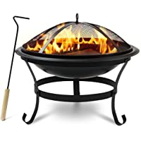"""Sorbus Fire Pit Bowl, Includes Mesh Cover, Log Grate, Curved Legs, and Poker Tool, Great BBQ Grill for Outdoor Patio, Backyard, Camping, Picnic, Bonfire, etc (Fire Pit Bowl 22"""")"""