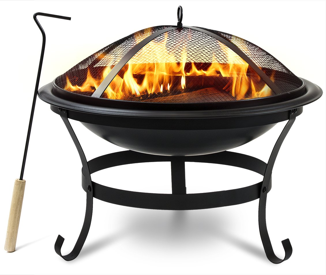 """Sorbus Fire Pit Bowl 30'', Includes Mesh Cover, Log Grate, Curved Legs, and Poker Tool, Great BBQ Grill for Outdoor Patio, Backyard, Camping, Picnic, Bonfire, etc (Black Fire Pit Bowl 30"""")"""