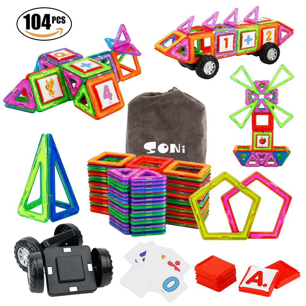 Magnetic Building Blocks 104 PCS Magnetic Tiles SONi Kids STEM Educational Construction Stacking Toys with Vehicle Wheel and Intelligent Cards