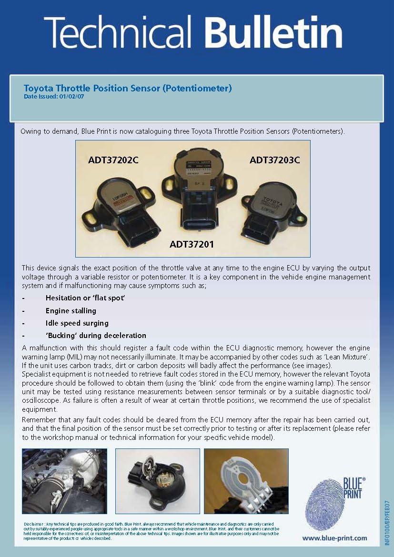 Blue Print ADT37203C Sensore Regolazione valvola farfalla
