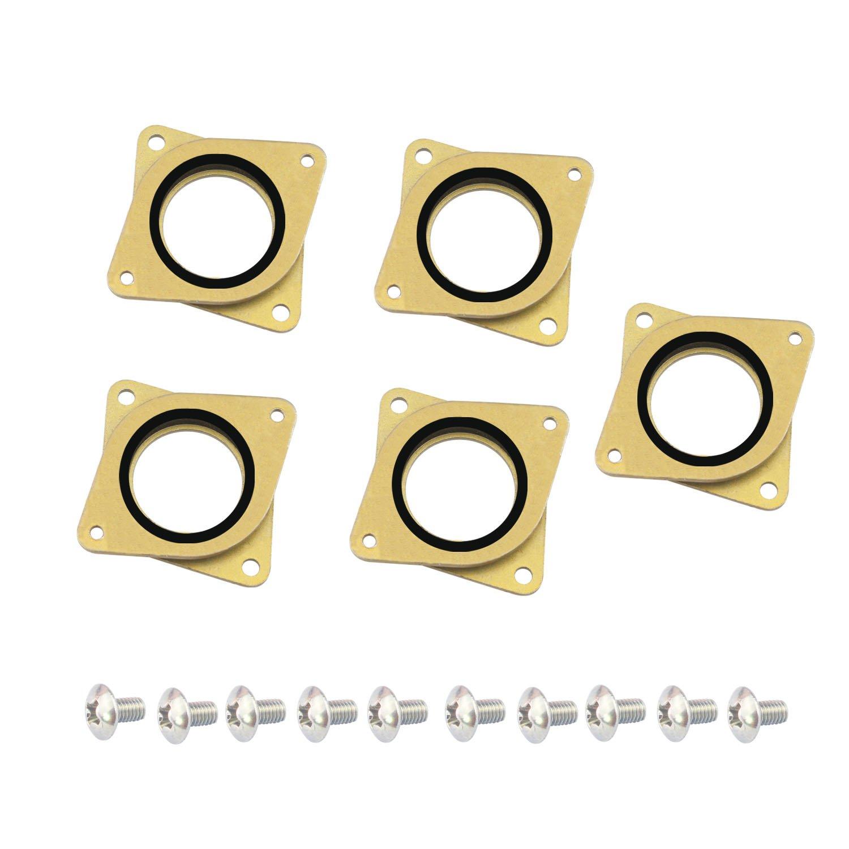 WeiMeet 5 Pieces Steel Rubber Stepper Motor Vibration Dampers with 10 Pieces M3 5mm Screws for CNC, NEMA 17 3D Printer