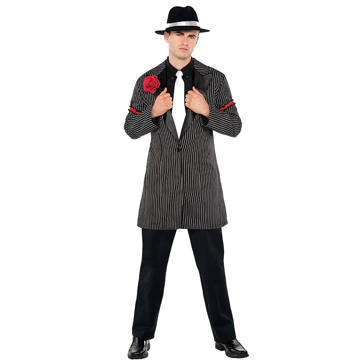 Mens Gangster Costume Pinstripe Zoot Suit Vintage 20s Mafia Fancy Dress Outfit