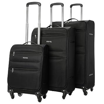 Eono Essentials Set de 3 maletas, con cuatro ruedas giratorias (53,3 cm, 66 cm y 73,6 cm, negro): Amazon.es: Equipaje