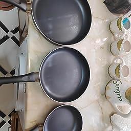 AmazonBasics - Set de sartenes antiadherentes, 3 piezas - 20 ...