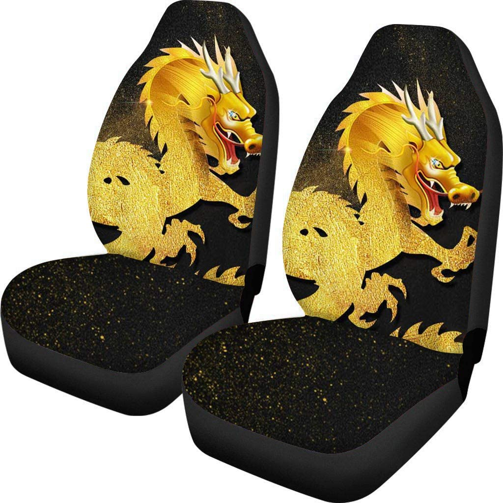 Fun Animal Turtle Print Front Bucket Car Seat Covers for Detachable and Non Detachable Headrests Auto