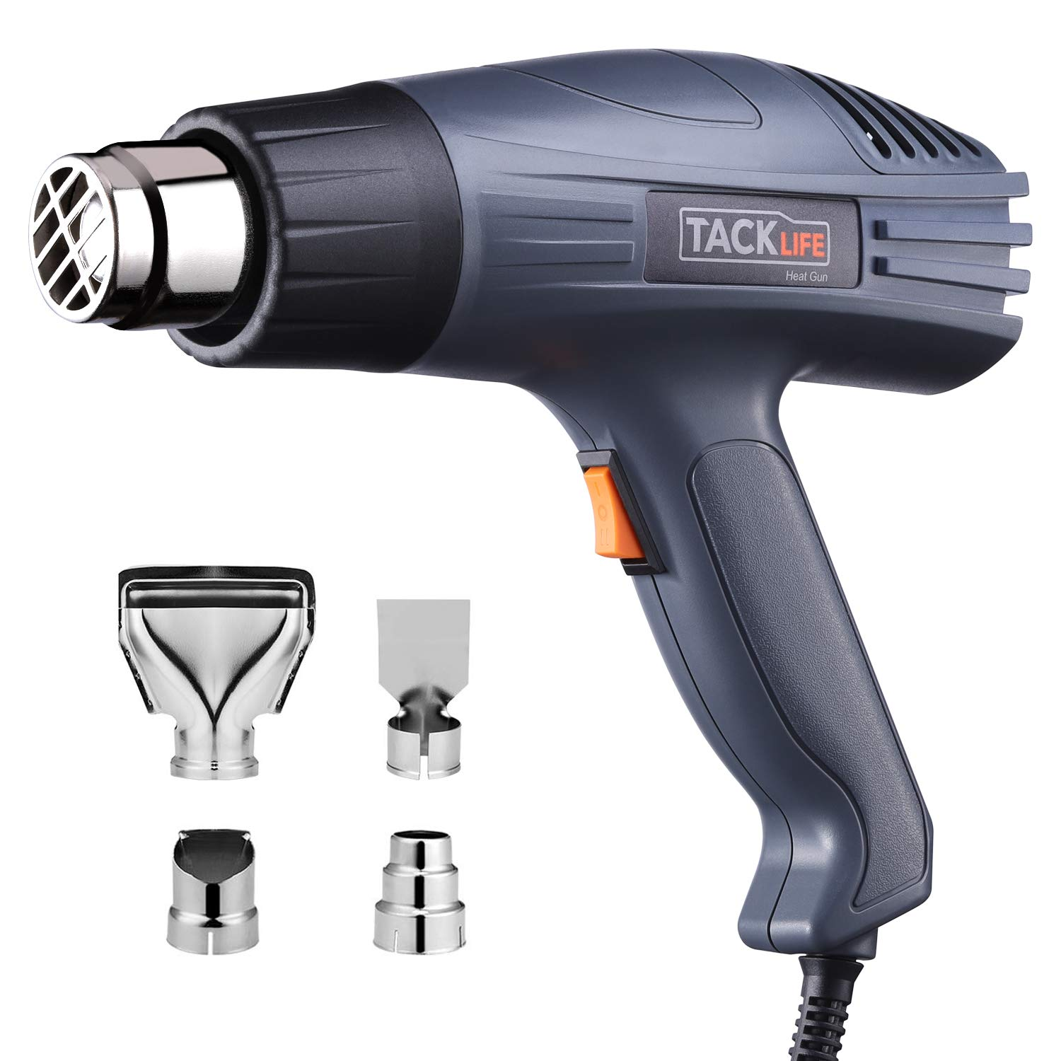 TACKLIFE Heat Gun 1500W 572℉~ 932℉ Dual Temperature Heat Gun Kit with Four Metal Nozzle Attachments for Thawing Pipes, Stripping Paint, Loosening Floor Tiles-HGP69AC by TACKLIFE