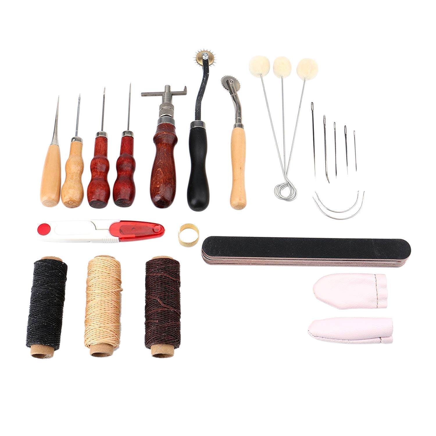 Tebery 29 Pieces Leather Craft Tool Professional Leather Sewing Kit DIY Hand Stitching Tools