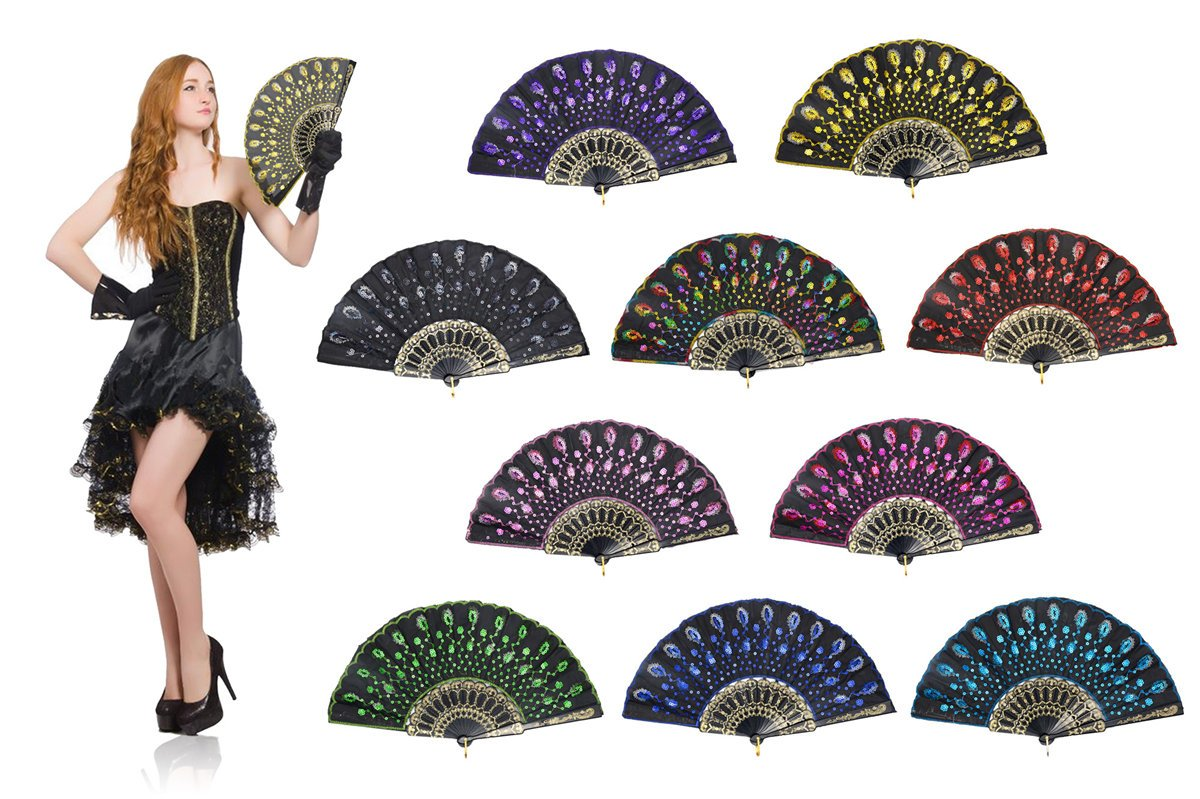 OMyTea Black Peacock Folding Hand Held Fans Bulk Pack Set for Women - Spanish/Chinese/Japanese Vintage Retro Fabric Fans for Wedding, Church, Party, Gifts (Mixed Colors, 10pcs)