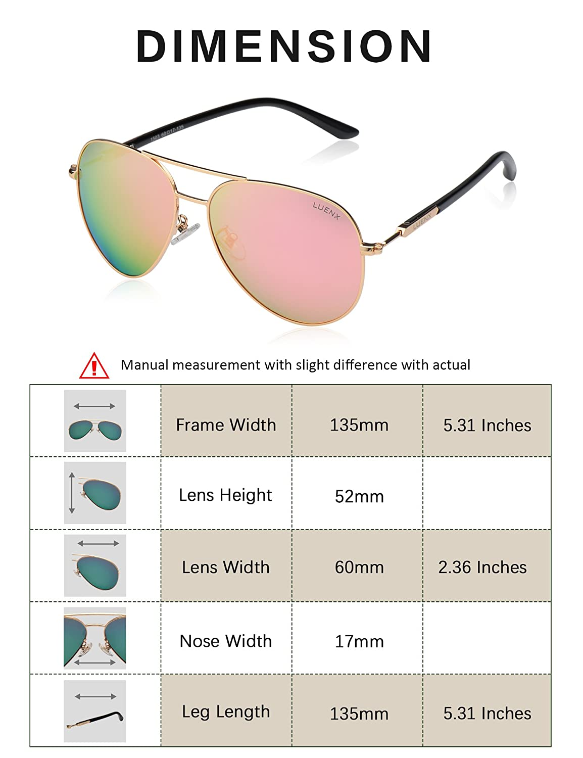 75a4bf783 LUENX Aviator Sunglasses Womens Polarized Mirror with Case - UV 400  Protection 60MM A-1503-15