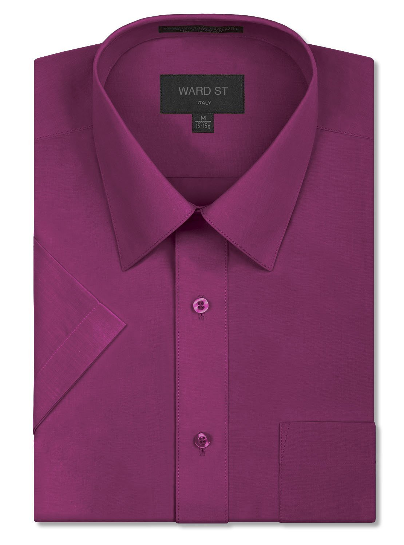 Ward St Men's Regular Fit Short Sleeve Dress Shirts, 3XL, 19-19.5N, Wine