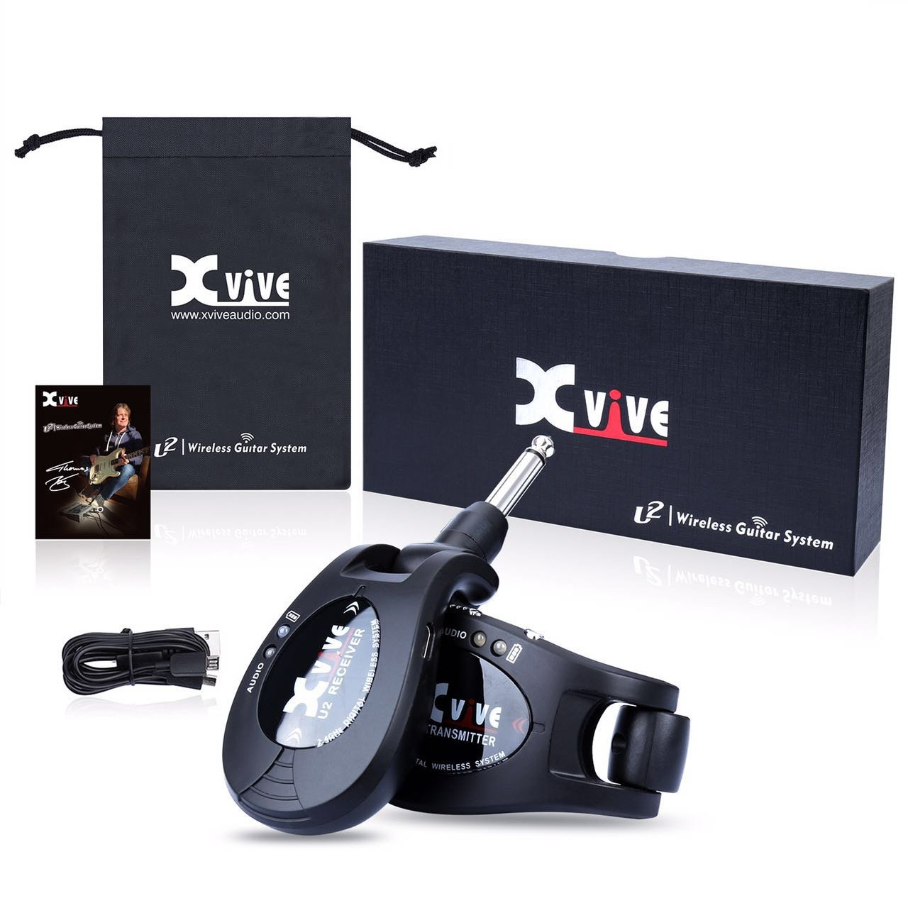 Xvive U2 rechargeable 2.4GHZ Wireless Guitar System - Digital Guitar Transmitter Receiver (Black)