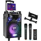 "Moukey Karaoke Machine Speaker,540W Peak Power Bluetooth 5.0 Karaoke System-PA Stereo with 10"" Subwoofer,DJ Lights,2 Micropho"