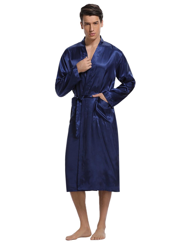 Aibrou Bata Hombre Casa Largo, Kimonos Satén Lujoso Lencería Encaje, Suave, Comodo y Agradable: Amazon.es: Ropa y accesorios