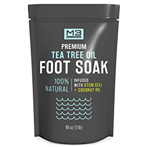 M3 Naturals Tea Tree Oil Foot Soak Infused with Coconut Oil and Stem Cell Epsom Salt Essential Oils for Toenail Fungus Athletes Foot Powder Bath Spa Stubborn Odor Softens Calluses Sore Feet Nails Toes