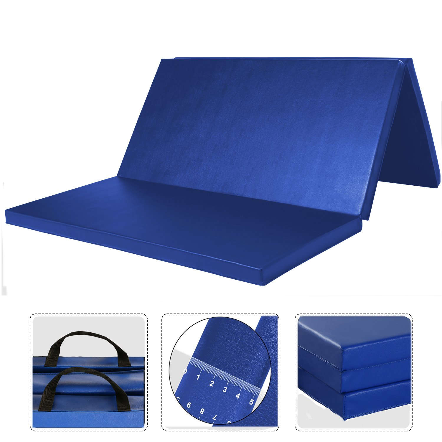 Leapair PU Leather Tri-Fold 2-Inch Thick Exercise  Pad, Blue, 4 x 6 Feet