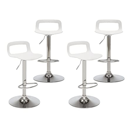 NOBPEINT Contemporary Chrome Air Lift Adjustable Swivel Bar Stool, Set of 4, White