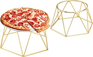 MyGift Brass Plated Modern Geometric Tabletop Restaurant Pizza Pan Food Display Riser Server Stand, Set of 2