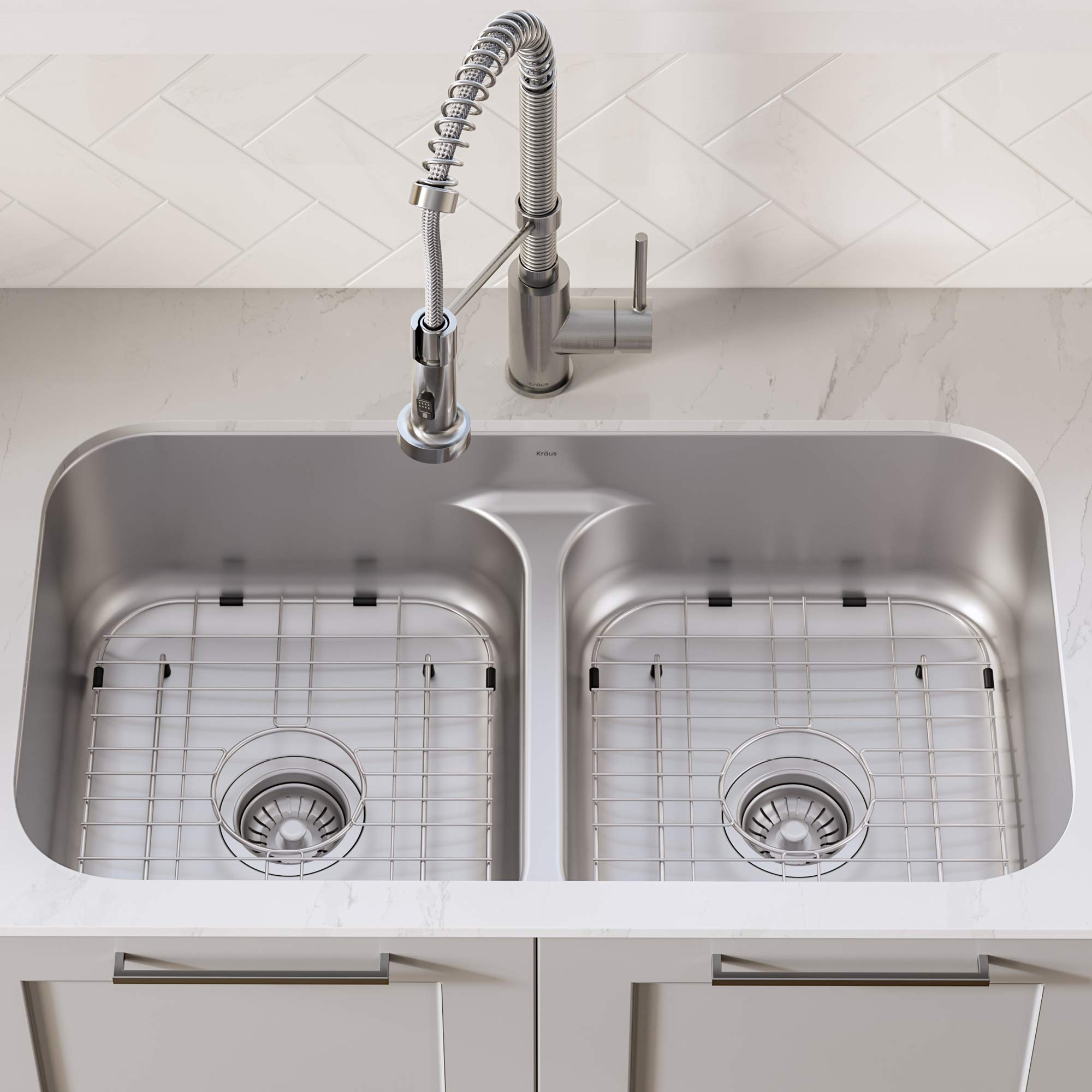 KRAUS KCA-1200 Ellis Kitchen Combo Set with 33-inch 16 Gauge Undermount Kitchen Sink and Bolden 18-inch Pull-Down Commercial Style Kitchen Faucet, Stainless Steel Finish by Kraus (Image #4)