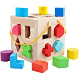QZMTOY Big Shape Sorter Toys with 19 Colorful Wood Geometric Shape Blocks and Sorter Sorting Cube Box Classic Wooden Developm