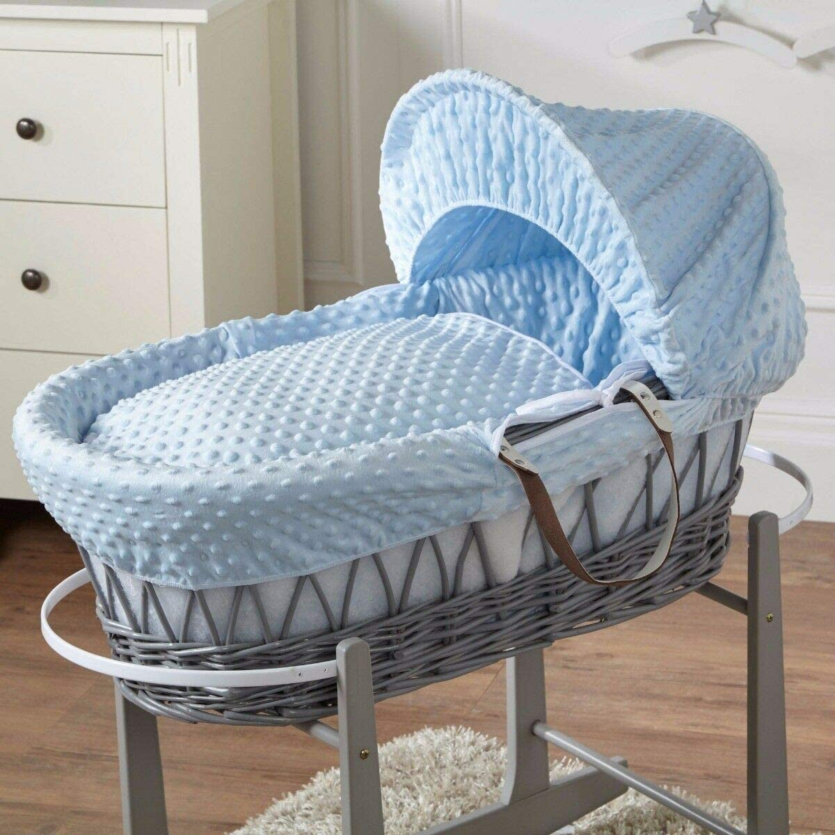 FYLO Cream Dimple Grey Wicker Moses Basket with Grey Rocking Stand