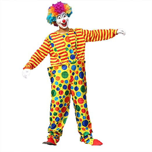 LUOEM Carnival Clown Costume Halloween Masquerade Adult Clown Outfit Suit For Men Party - Size 5XL