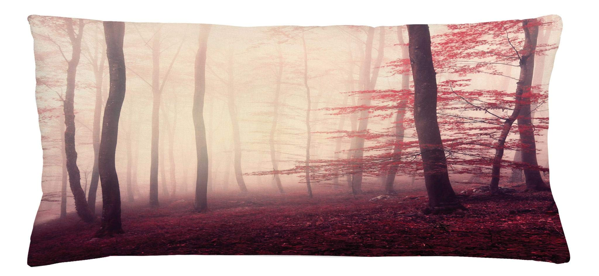 Ambesonne Woodland Throw Pillow Cushion Cover, Fantasy Marsala Color Foggy Forest Jungle Dreamy Wilderness Woods Sunlight Image, Decorative Square Accent Pillow Case, 36 X 16 Inches, Maroon Peach