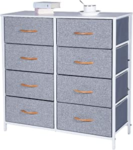 Kamiler Dresser with 8 Drawers, Tall Vertical Storage Organizer, 4-Tier Wide Drawer Dresser, Tower Unit for Bedroom/Hallway/Entryway/Closets(White)