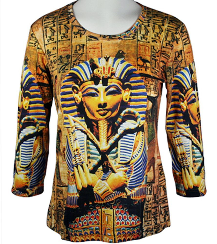 Breeke & Company - King Tut, 3/4 Sleeve, Scoop Neck, Hand Silk Screened Top by Breeke & Company