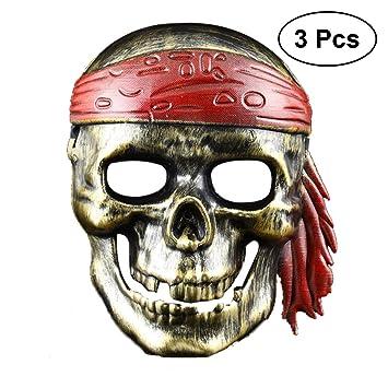 BESTOYARD 3pcs Fiesta de Halloween Esqueleto Máscara Caribe Pirata Disfraces Máscaras Disfraces de Halloween Accesorios (