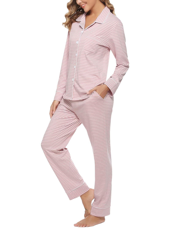 Hawiton Damen Schlafanzug Langarm Pyjamas Set Nachtw/äsche mit Knopfleiste Zweiteiliger Sleepwear