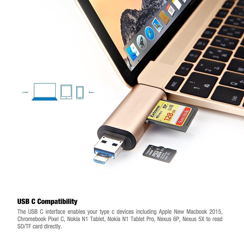 Lector de Tarjetas 3 en 1 OTG con USB C USB A Micro USB para Tarjeta de Memoria Micro SD SDHC TF Jelly Comb USB 3.0 Lector de Tarjetas