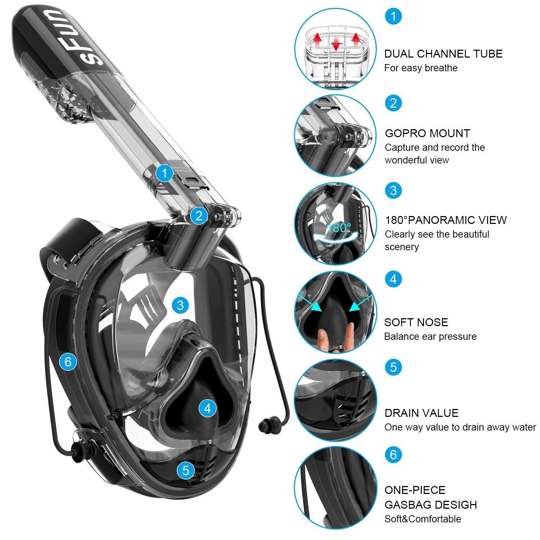 Amazon.com : SFUN Snorkeling Mask Full Face Snorkel Mask Anti-Fog Panoramic Snorkel Mask for Scuba Diving Snorkeling (Black) : Sports & Outdoors
