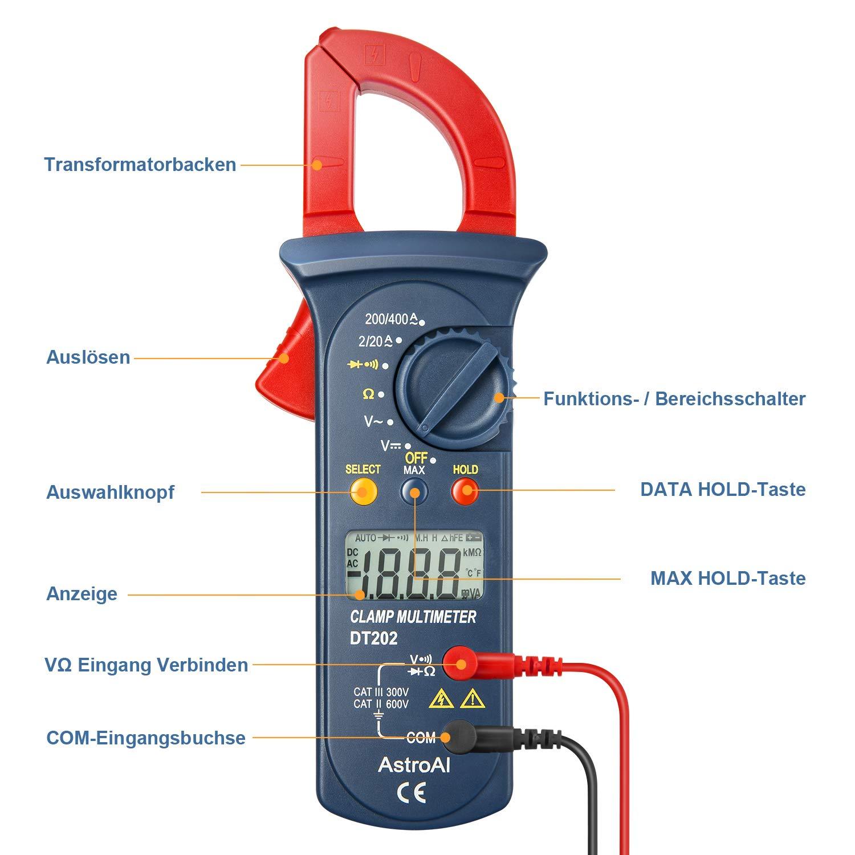 Widerstand Kontinuit/ät; Testet Dioden Wechselstrom Auto Range Spannungspr/üfer AstroAI Clamp Meter Digitaler Stromzange Multimeter Mit 2000 Counts Rot//Schwarz